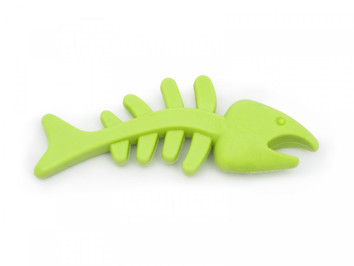 Domestico Dentální gumová hračka pro psy a kočky, RYBA, 13 cm, zelená