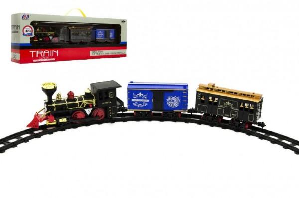 Lokomotiva/Vlak + vagónky s dráhou 11ks plast 45cm na baterie