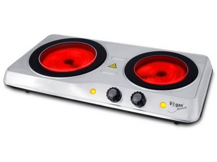 vařič el. dvouplotýnkový VIGAN 1200W/800W sklokeramika nerez