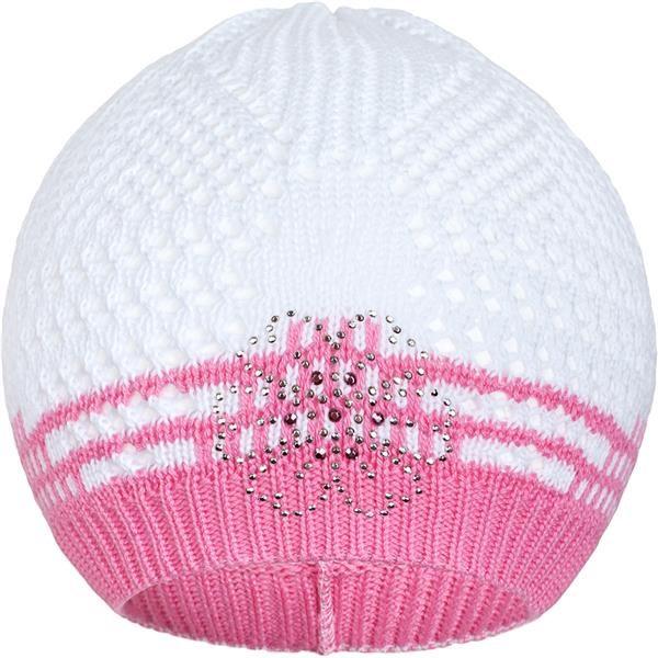 Pletená čepička New Baby kytička růžová - 104 (3-4r)