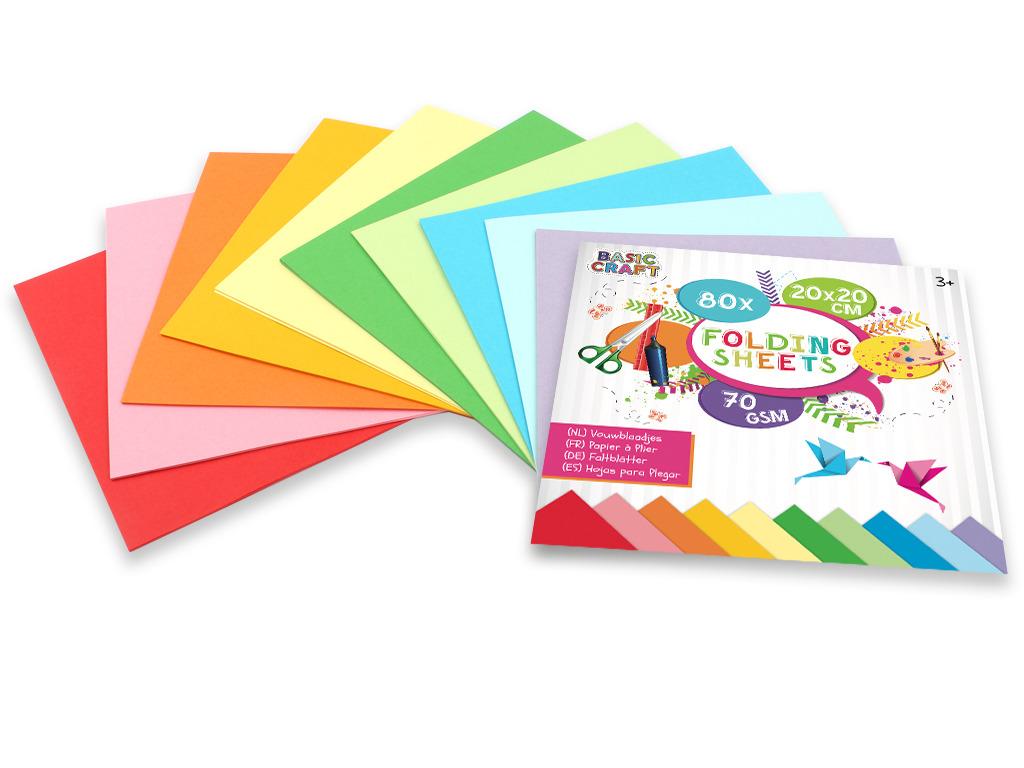 Sada barevných papírů 20x20 cm