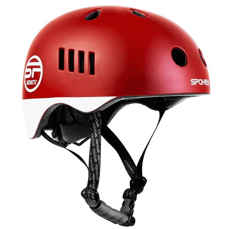 Spokey PUMPTRACK Juniorská cyklistická BMX přilba IN-MOLD, 54-58 cm, červená