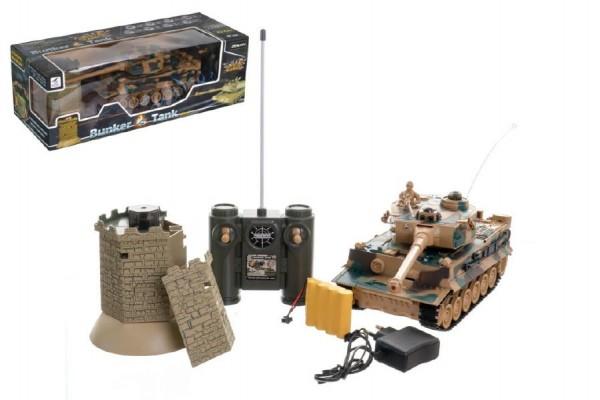Tank RC TIGER I plast 33cm+bunkr na baterie+dobíjecí pack se zvukem a světlem