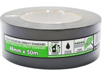 páska textilní na opravy STANDARD 48mmx50m ČER