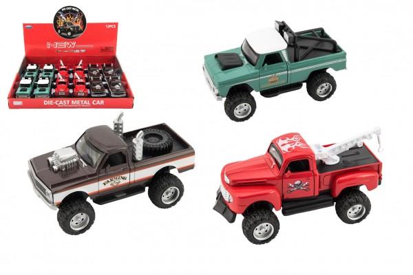 Auto pick up kov/plast 12cm na baterie se světlem se zvukem 3 druhy na zpětný chod