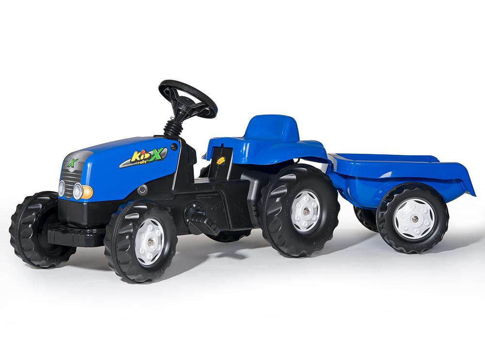 Šlapací traktor Rolly Kid s vlečkou modrý
