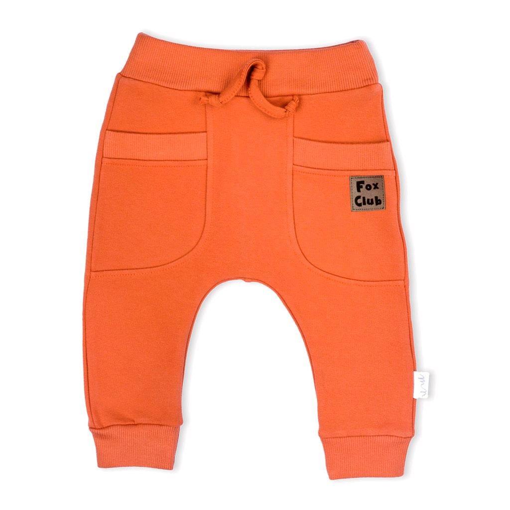 Kojenecké bavlněné tepláčky Nicol Fox Club oranžové - 56 (0-3m)