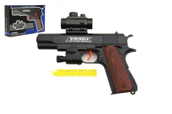 Pistole na měkké kuličky plast 20cm