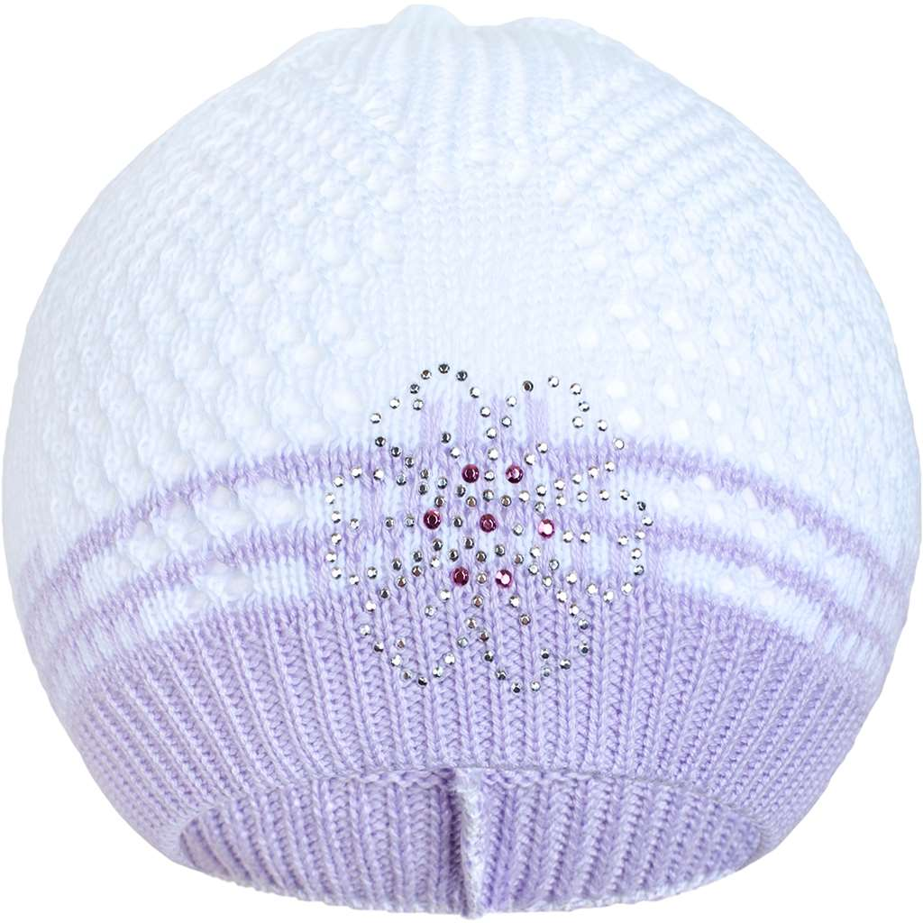 Pletená čepička New Baby kytička fialová - 104 (3-4r)