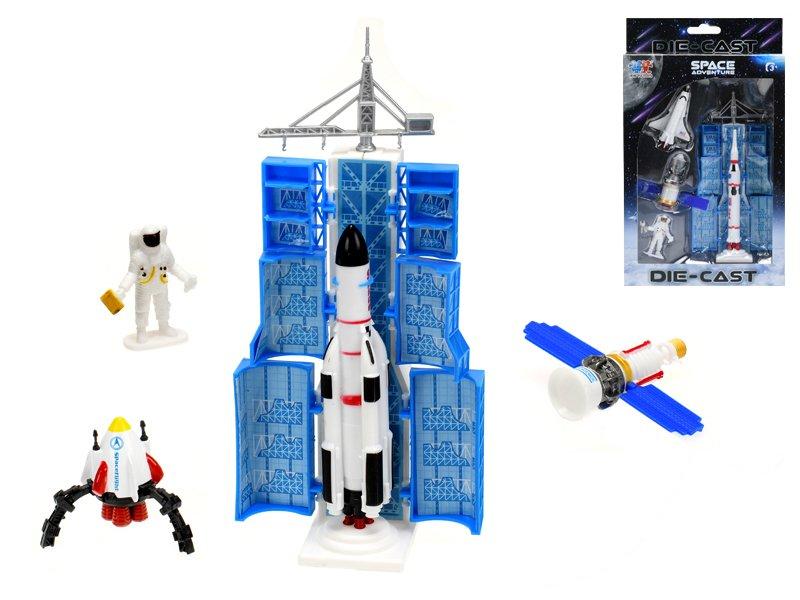 Vesmírná raketa 13 cm s doplňky kov - mix variant či barev