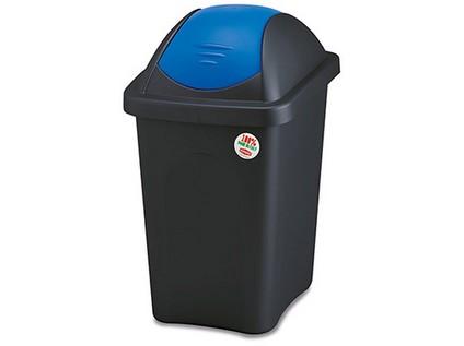 koš odpadkový výklopný MULTIPAT 30l obdélníkový ČER/MO plastové víko
