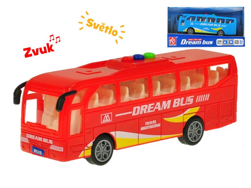 Autobus 16 cm na setrvačník na baterie se světlem a zvukem - mix barev