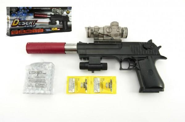 Pistole plast/kov 33cm na vodní kuličky + náboje 9-11mm na baterie se světlem
