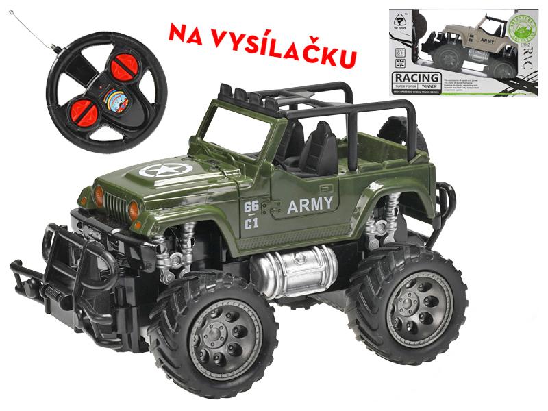 R/C auto vojenské terénní 1:24 17 cm 27 MHz plná funkce na baterie - mix barev