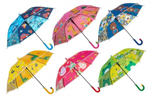 Deštník vystřelovací 66cm kov/plast - mix barev