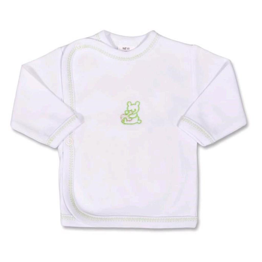 Kojenecká košilka s vyšívaným obrázkem New Baby zelená - 50
