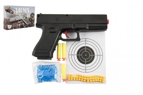 Pistole na kuličky 20cm plast + vodní kuličky 6mm,pěnové náboje 3ks,gumové kul.