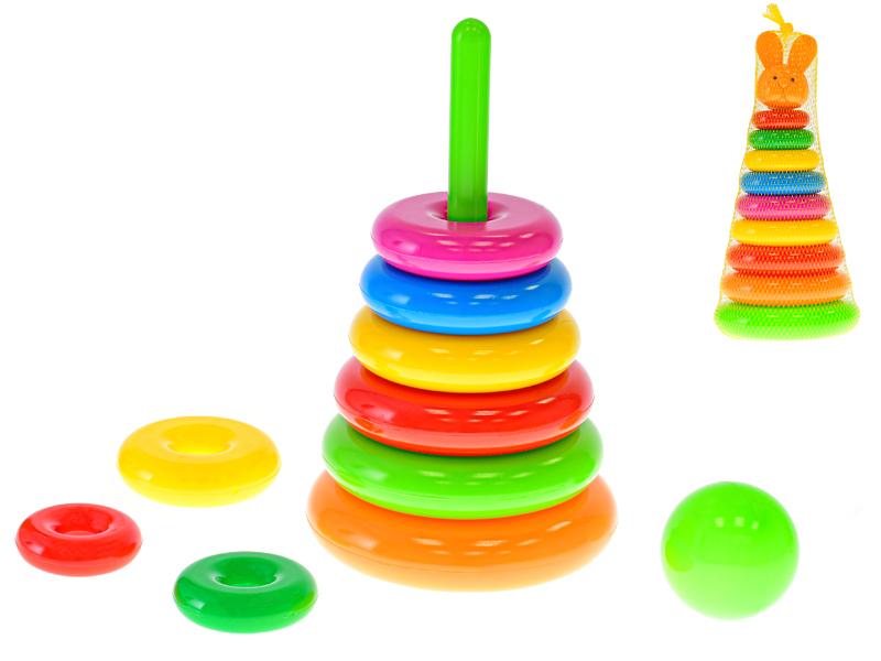 Skládanka pyramida s kroužky plast 28cm v síťce 12m+ - mix variant či barev