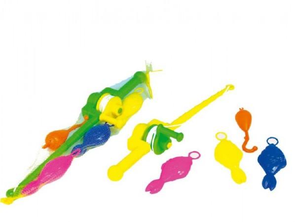 Hra ryby/rybář plast 3ks+prut 50cm - mix barev