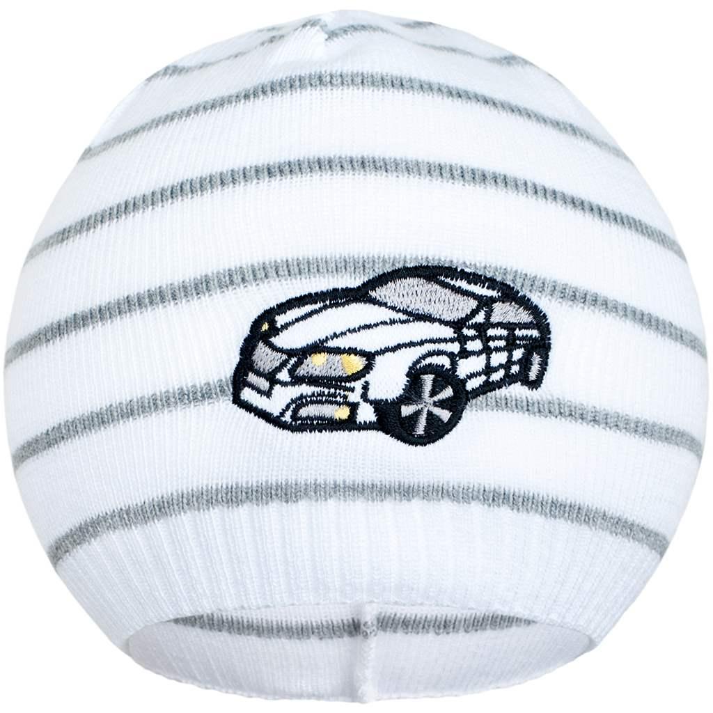Jarní čepička New Baby s autíčkem bílo-tmavě šedá - 104 (3-4r)