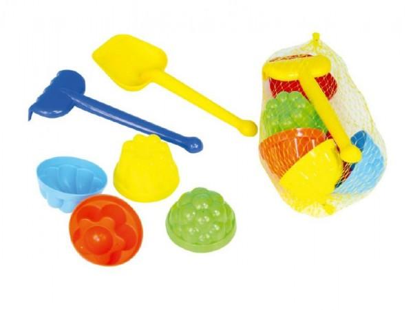 Sada na písek plast lopatka, hrabičky, 4ks bábovky