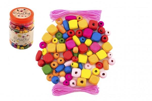 Korálky dřevěné barevné s gumičkami cca 300ks v plastové dóze 7x11cm