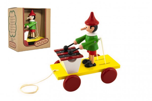 Pinocchio s xylofonem tahací dřevo 20cm