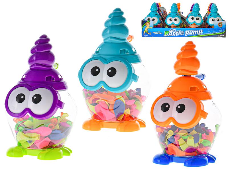 Vodní bomby 100 ks s pumpou 19 cm 12 ks v DBX ve fólii - mix barev