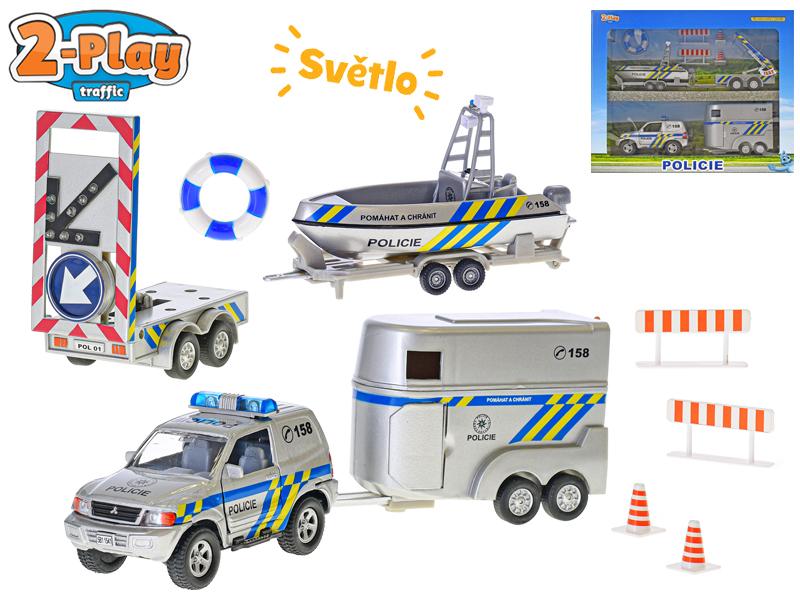Policejní auto 13 cm kov s přívěsem + 2 vozíky 2-Play na baterie
