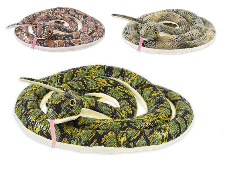 Had plyšový 220 cm - mix barev (hnědá, zelená, šedá)