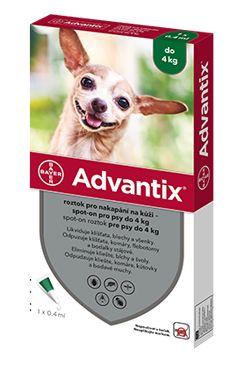 BAYER Advantix Spot-On pro psy do 4 kg (0,4ml)