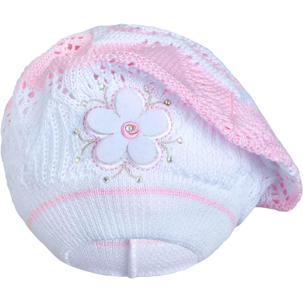 Pletená čepička-baret New Baby světle růžová - 104 (3-4r)