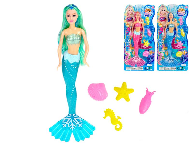 Mořská panna 36 cm s doplňky - mix barev