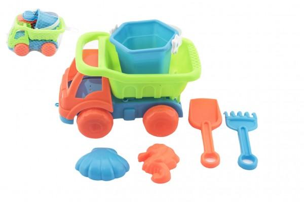 Auto na písek s doplňky plast 16cm - mix barev