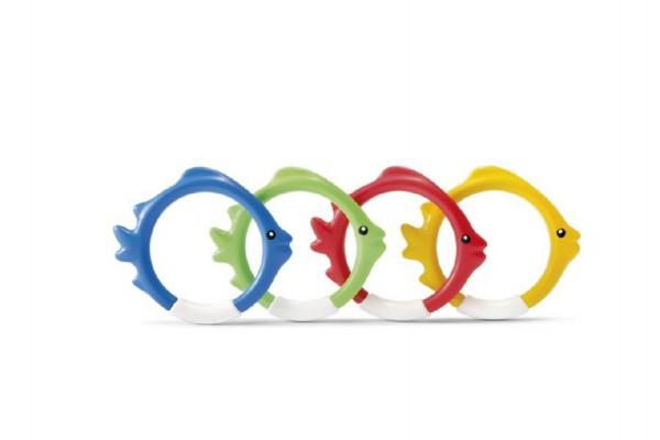 Zábavné kruhy/ryby 4ks pro potápění ve vodě plast 10cm