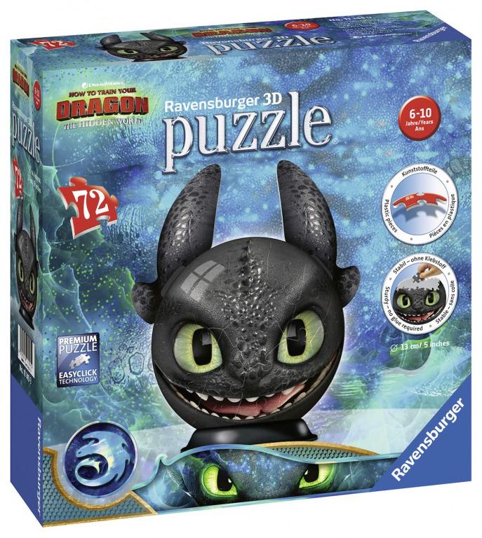 RAVENSBURGER Puzzle-Ball Jak vycvičit draka 3: Bezzubka 72 dílků