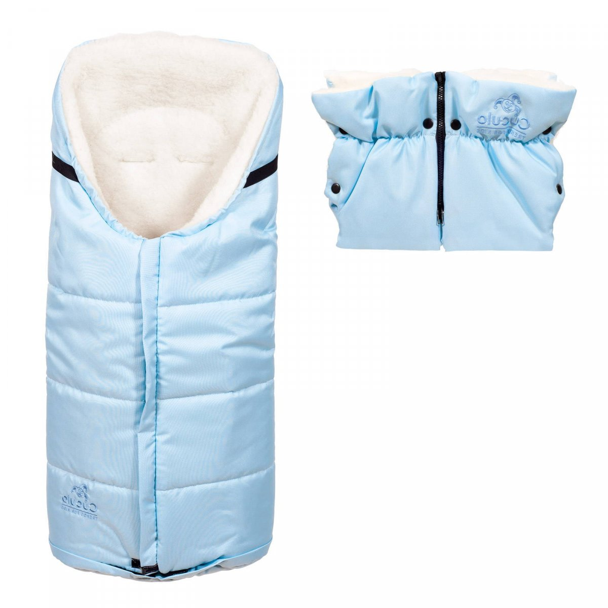 Set - nepromokavý fusak Iceland wool a rukávník, ovčí vlna, světle modrý, Cuculo